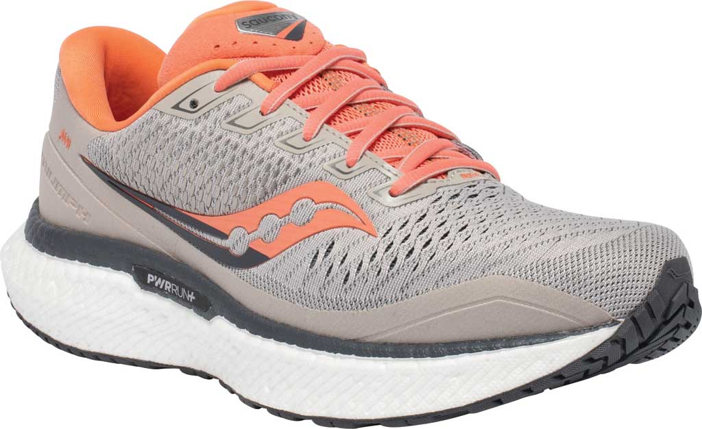 Women's Saucony Triumph 18 Running Sneaker, Moonrock/Coral, large, image 1
