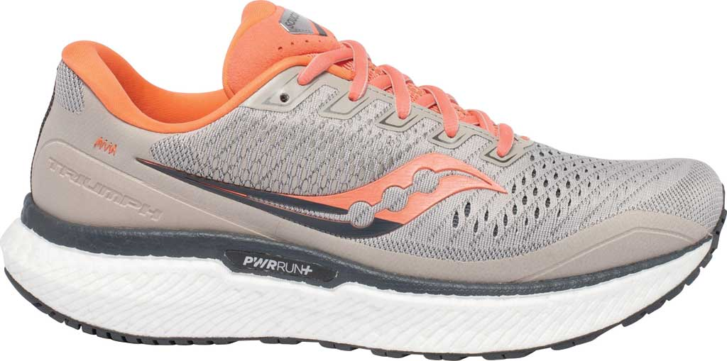 Women's Saucony Triumph 18 Running Sneaker, Moonrock/Coral, large, image 2