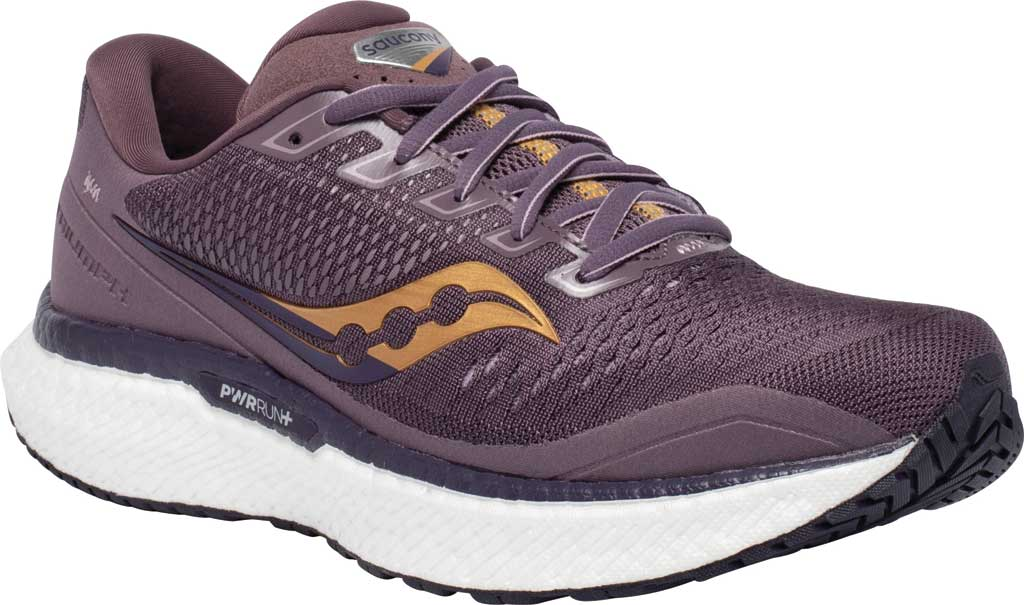 Women's Saucony Triumph 18 Running Sneaker, Dusk/Gold, large, image 1