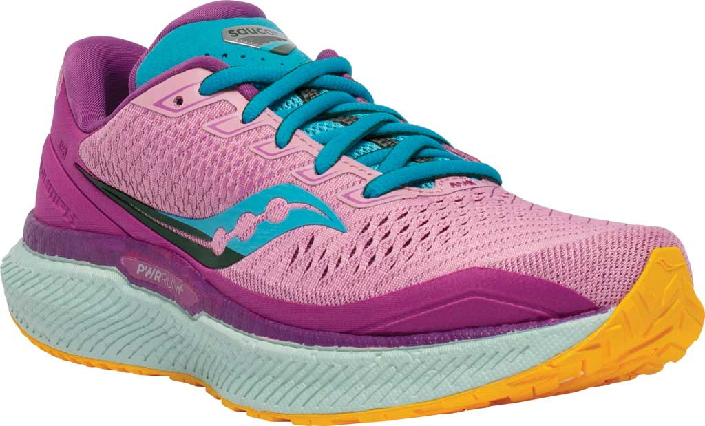 Women's Saucony Triumph 18 Running Sneaker, Future/Pink, large, image 1