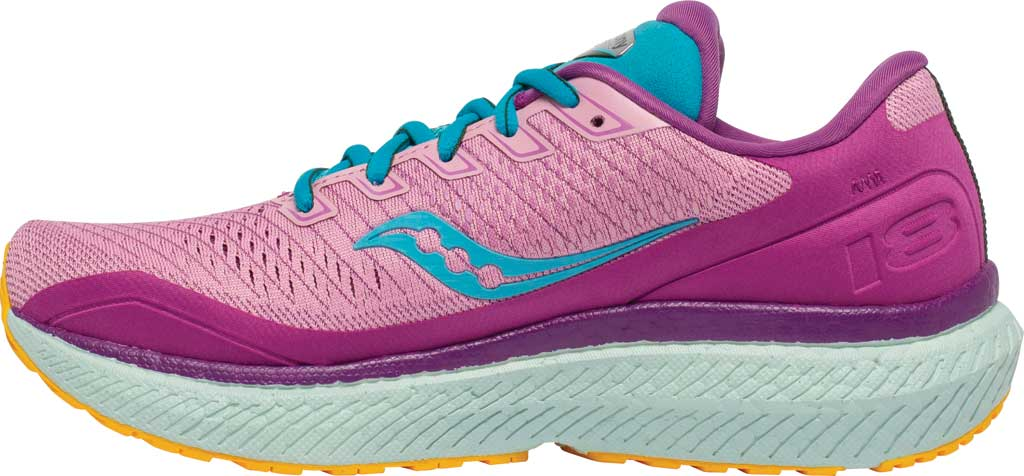 Women's Saucony Triumph 18 Running Sneaker, Future/Pink, large, image 3
