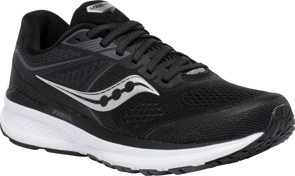 Women's Saucony Omni 19 Running Sneaker, Black/White, large, image 1