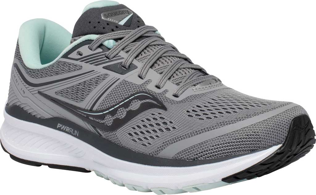 Women's Saucony Omni 19 Running Sneaker, Alloy/Sky, large, image 1