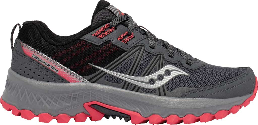 Women's Saucony Excursion TR14 Trail Running Sneaker, Charcoal/Coral, large, image 2