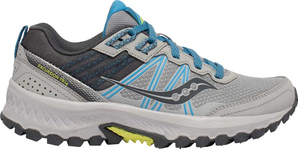 Women's Saucony Excursion TR14 Trail Running Sneaker, Grey/Blue/Glade, large, image 2
