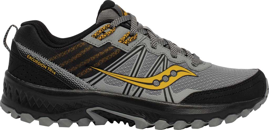 Men's Saucony Excursion TR14 Trail Running Sneaker, Grey/Gold, large, image 2