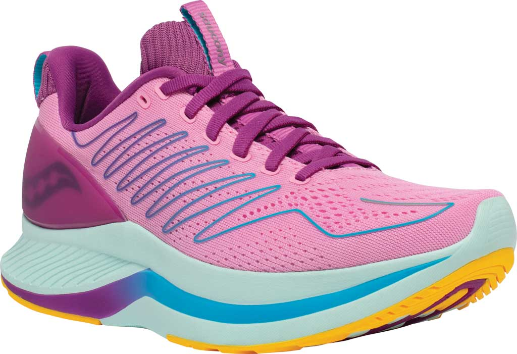 Women's Saucony Endorphin Shift Running Sneaker, Future/Pink, large, image 1