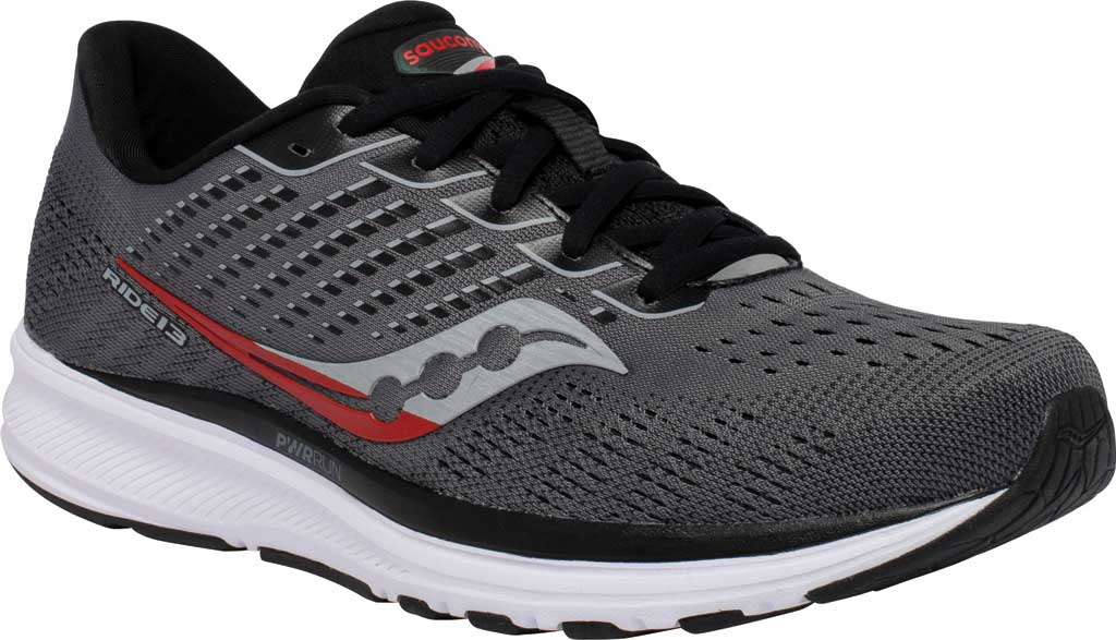 Men's Saucony Ride 13 Running Sneaker, Charcoal/Black, large, image 1