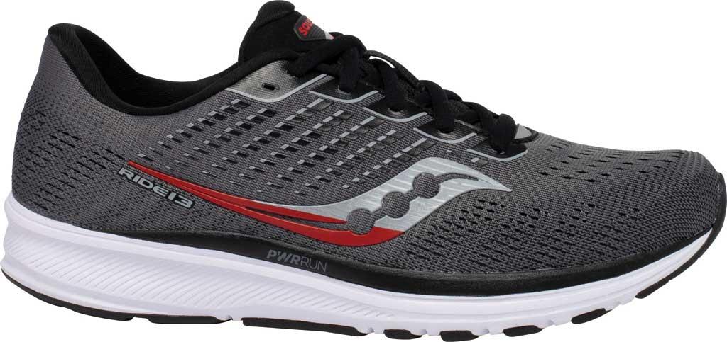 Men's Saucony Ride 13 Running Sneaker, Charcoal/Black, large, image 2