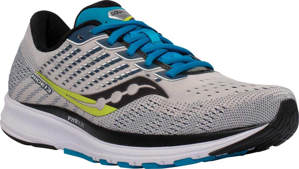 Men's Saucony Ride 13 Running Sneaker, Stone/Cobalt, large, image 1