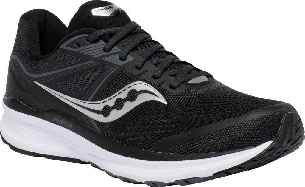 Men's Saucony Omni 19 Running Sneaker, Black/White, large, image 1