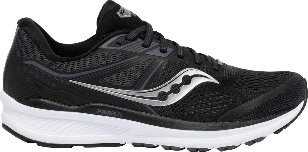 Men's Saucony Omni 19 Running Sneaker, Black/White, large, image 2