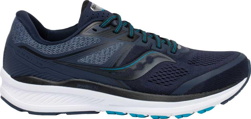 Men's Saucony Omni 19 Running Sneaker, Indigo/Ocean, large, image 2