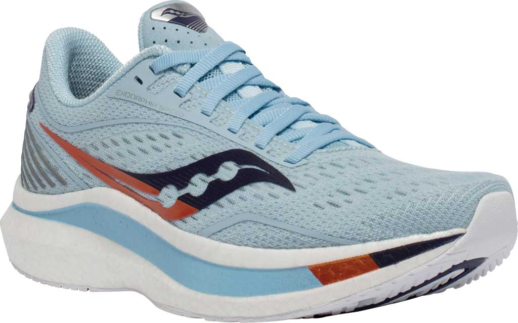 Women's Saucony Endorphin Speed Running Sneaker, Sky/Midnight, large, image 1