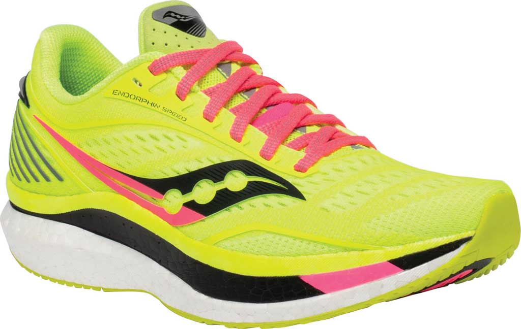 Women's Saucony Endorphin Speed Running Sneaker, Citron, large, image 1