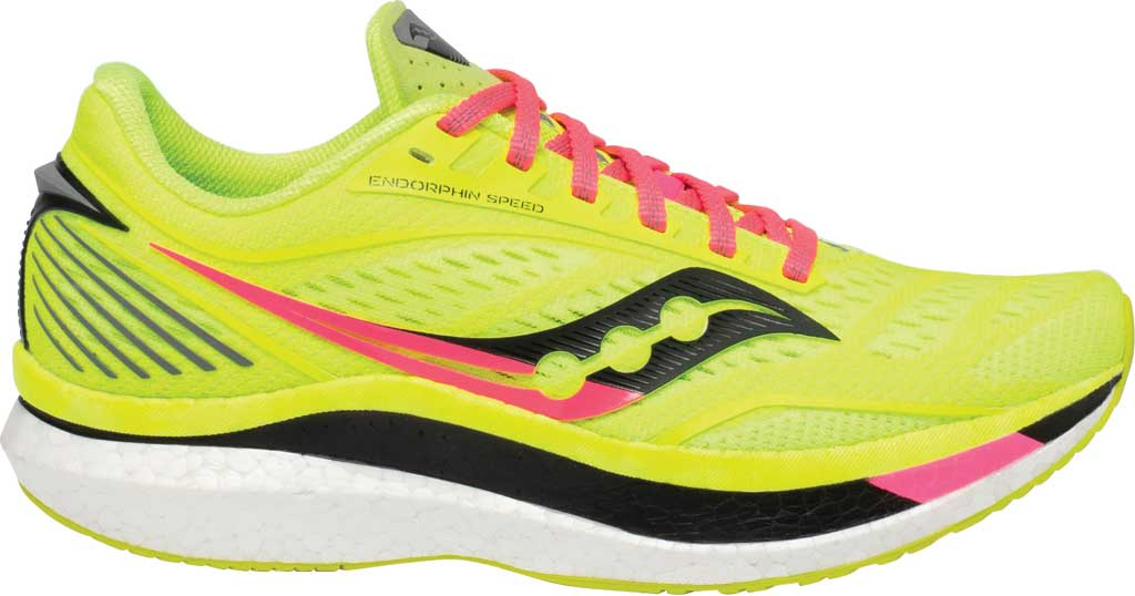 Women's Saucony Endorphin Speed Running Sneaker, Citron, large, image 2