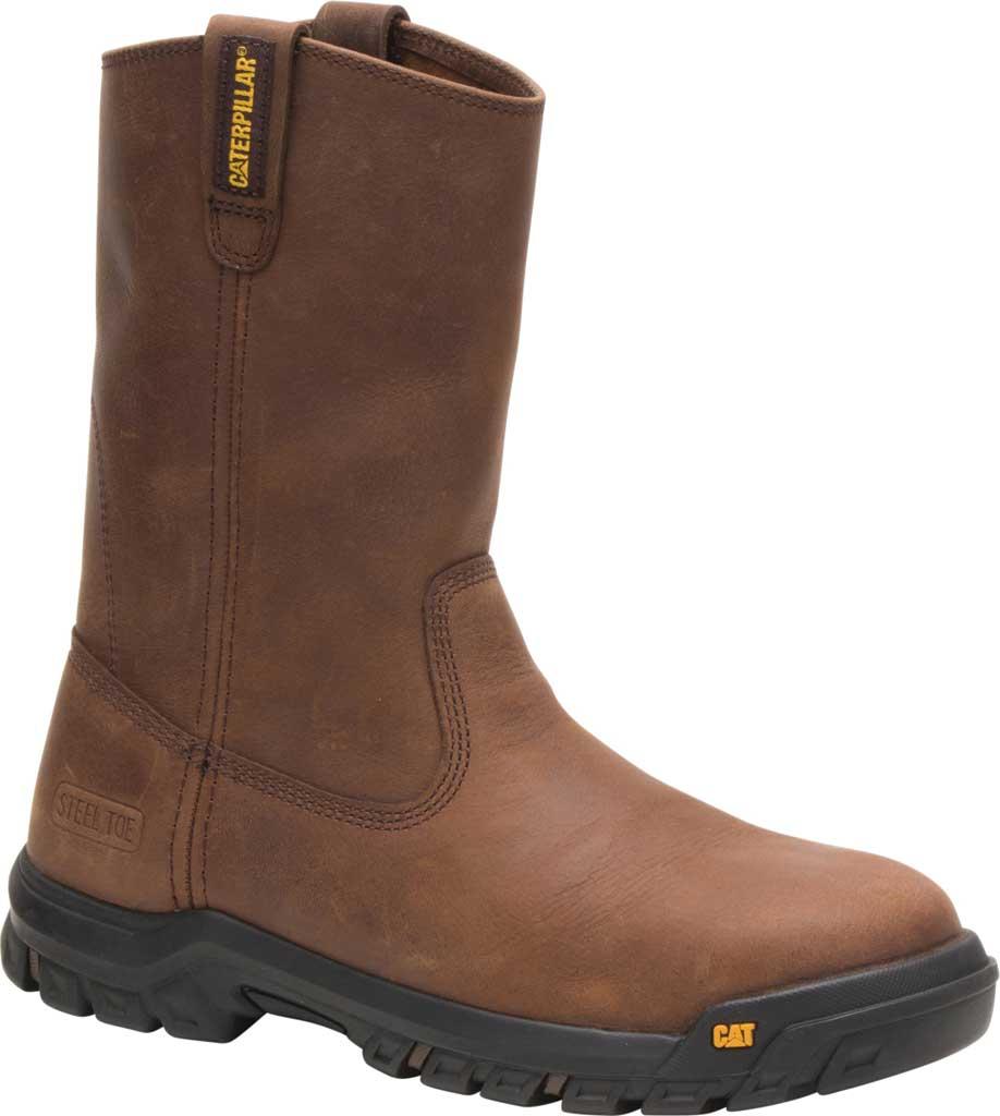 Men's Caterpillar Drawbar Steel Toe Pull On Work Boot, Summer Brown Leather, large, image 1