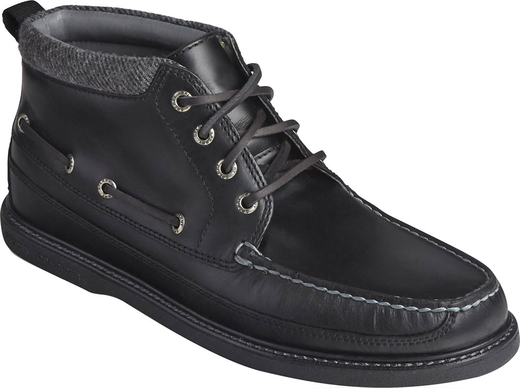 Men's Sperry Top-Sider Gold Cup Authentic Original Moc Toe Boot, Black/Black Full Grain Leather, large, image 1