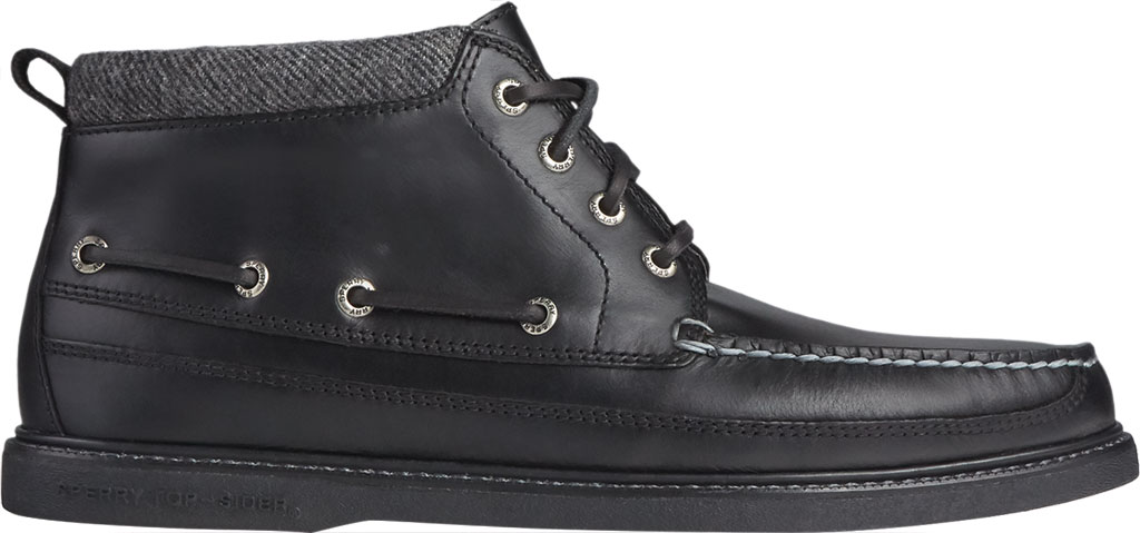 Men's Sperry Top-Sider Gold Cup Authentic Original Moc Toe Boot, Black/Black Full Grain Leather, large, image 2
