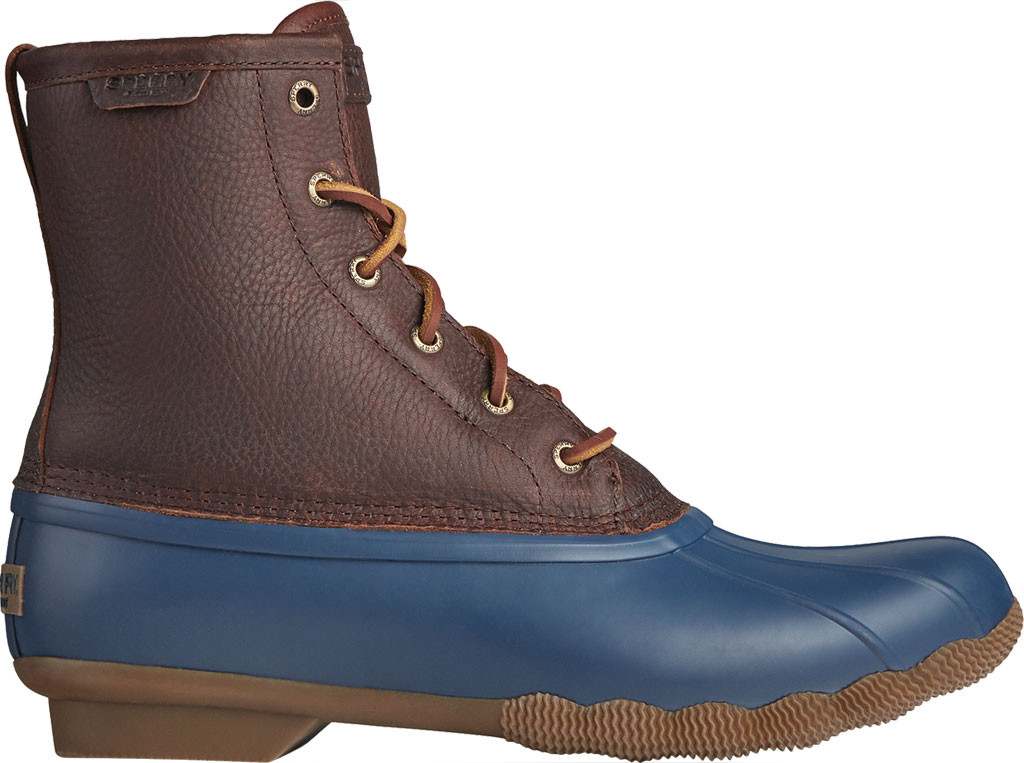 Men's Sperry Top-Sider Saltwater Duck Boot, Brown/Navy Leather/Rubber, large, image 2
