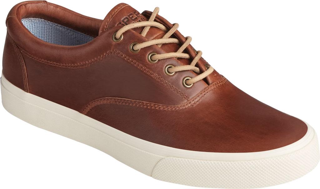 Men's Sperry Top-Sider Striper PLUSHWAVE CVO Sneaker, Dark Tan Full Grain Leather, large, image 1