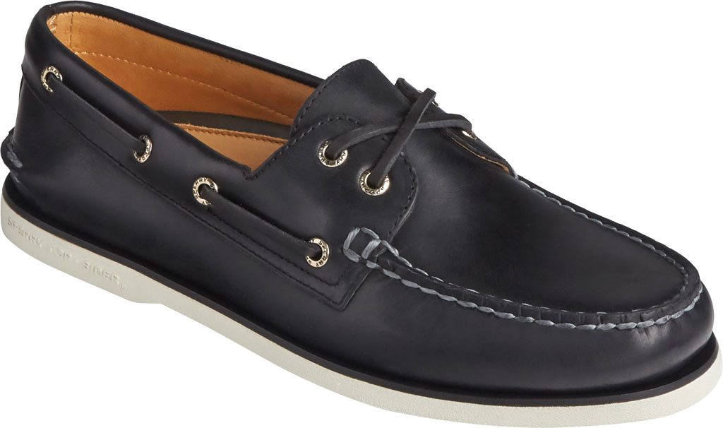 Men's Sperry Top-Sider Gold Cup Authentic Original 2-Eye Orleans Shoe, Black Full Grain Leather, large, image 1