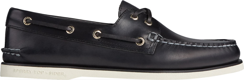 Men's Sperry Top-Sider Gold Cup Authentic Original 2-Eye Orleans Shoe, Black Full Grain Leather, large, image 2