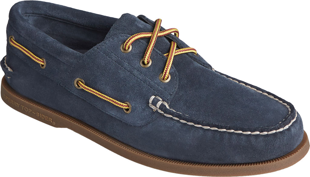 Men's Sperry Top-Sider Authentic Original 3-Eye Suede Boat Shoe, Navy/Gum Suede, large, image 1