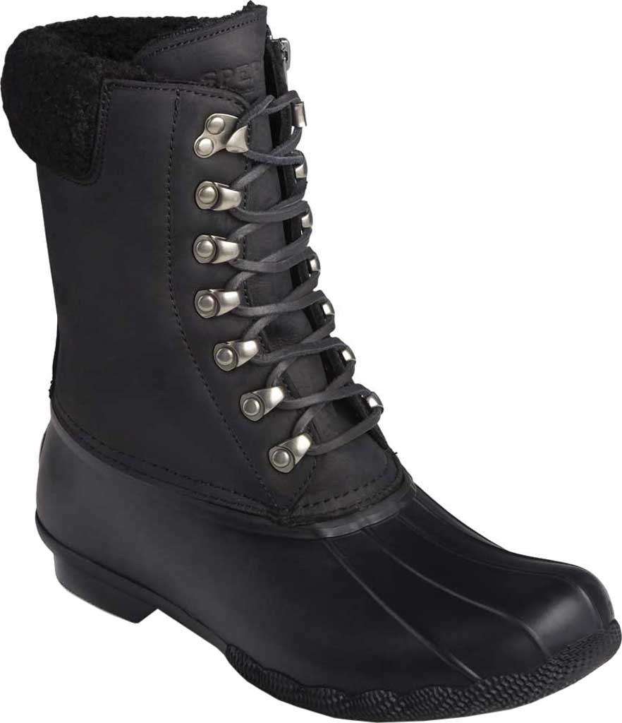 Women's Sperry Top-Sider Saltwater Tall Leather Cozy Mid Calf Duck Boot, Black Leather/Rubber, large, image 1
