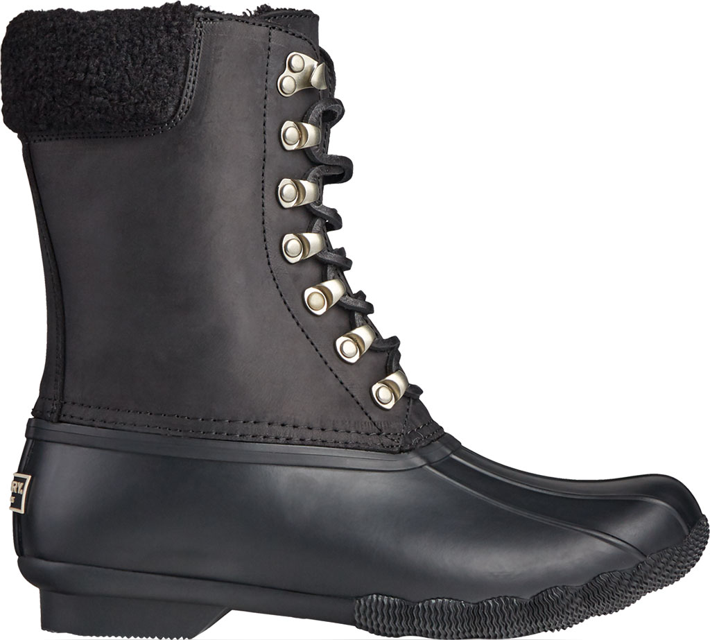 Women's Sperry Top-Sider Saltwater Tall Leather Cozy Mid Calf Duck Boot, Black Leather/Rubber, large, image 2