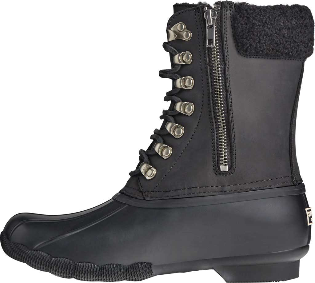 Women's Sperry Top-Sider Saltwater Tall Leather Cozy Mid Calf Duck Boot, Black Leather/Rubber, large, image 3