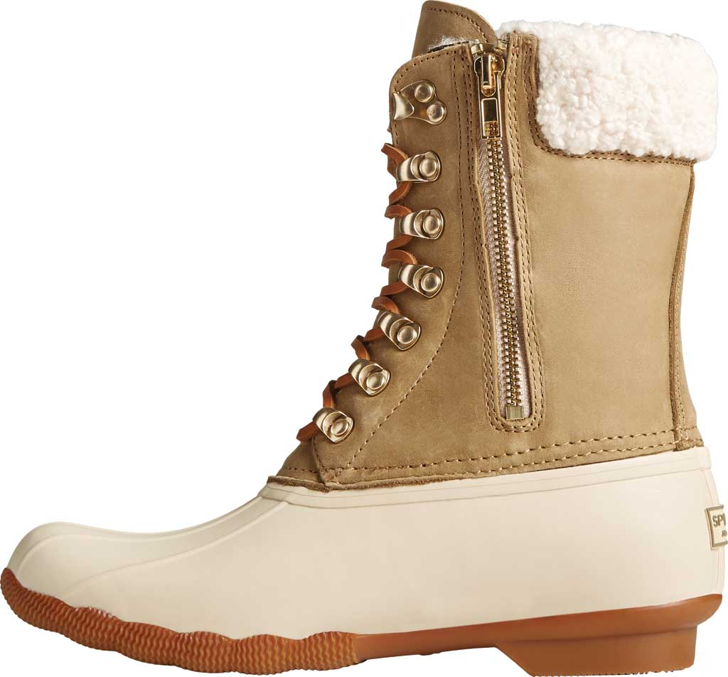 Women's Sperry Top-Sider Saltwater Tall Leather Cozy Mid Calf Duck Boot, Birch Leather/Rubber, large, image 2