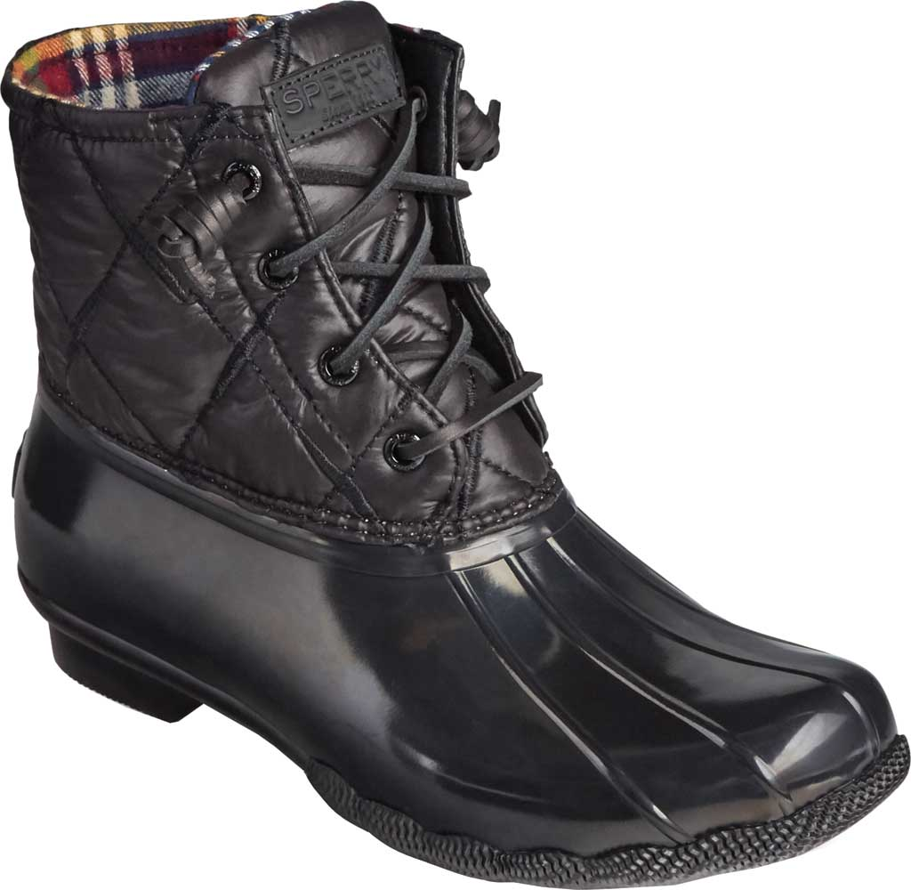 Women's Sperry Top-Sider Saltwater Nylon Quilted Duck Boot, Black Quilted Nylon/Rubber, large, image 1