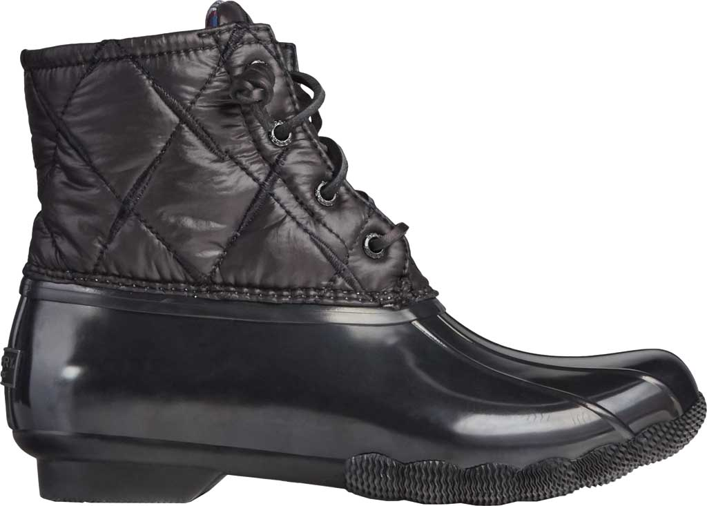 Women's Sperry Top-Sider Saltwater Nylon Quilted Duck Boot, Black Quilted Nylon/Rubber, large, image 2