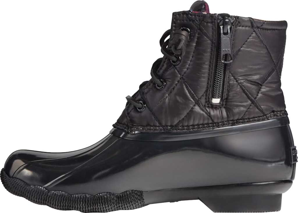 Women's Sperry Top-Sider Saltwater Nylon Quilted Duck Boot, Black Quilted Nylon/Rubber, large, image 3