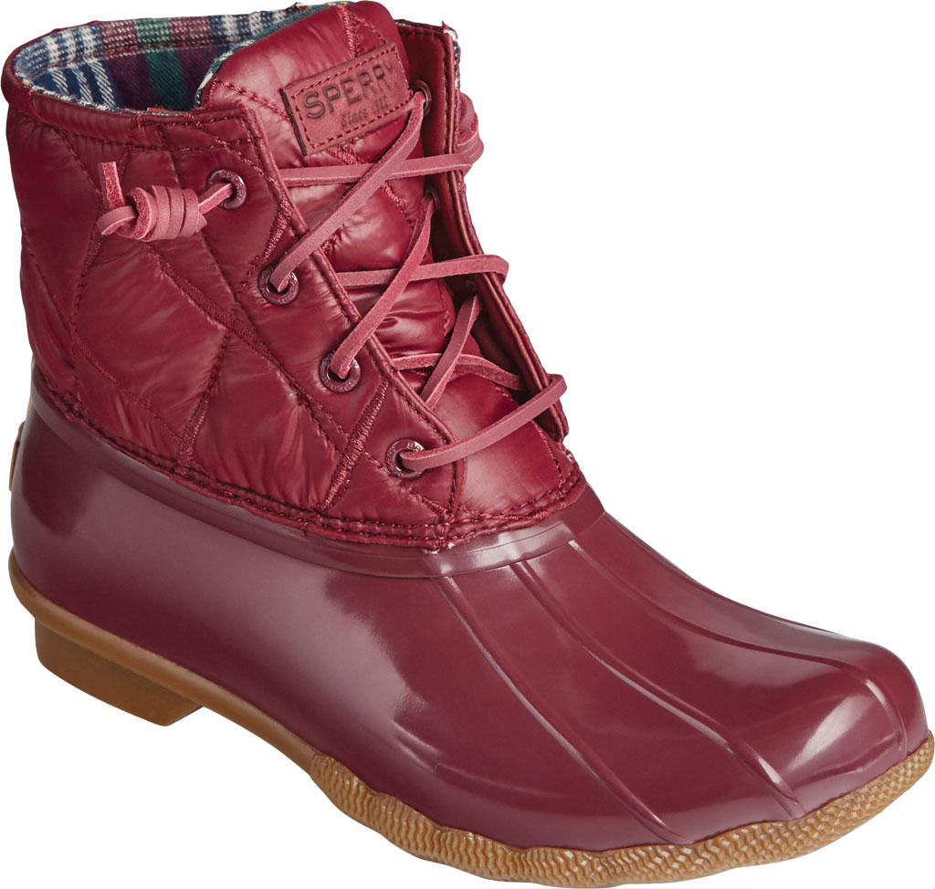 Women's Sperry Top-Sider Saltwater Nylon Quilted Duck Boot, Cordovan Quilted Nylon/Rubber, large, image 1