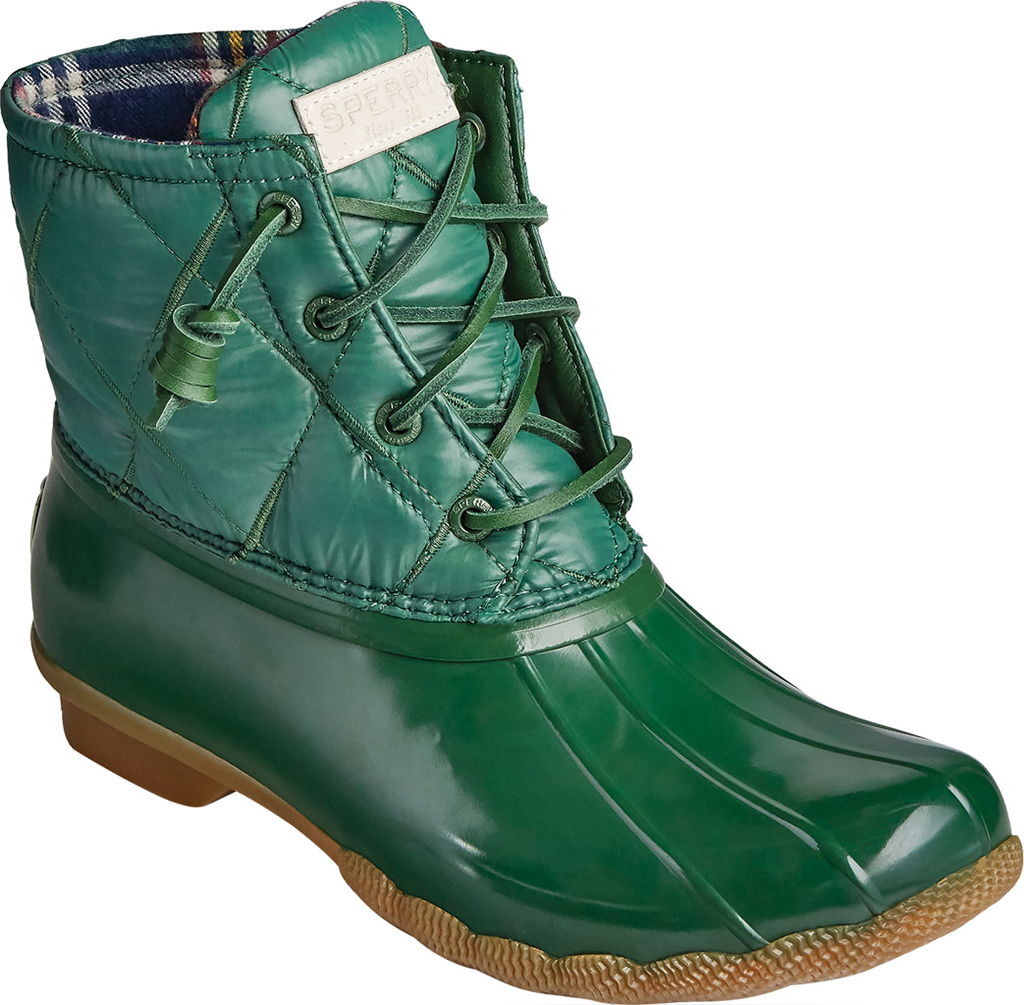 Women's Sperry Top-Sider Saltwater Nylon Quilted Duck Boot, Green Quilted Nylon/Rubber, large, image 1