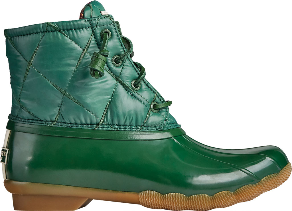 Women's Sperry Top-Sider Saltwater Nylon Quilted Duck Boot, Green Quilted Nylon/Rubber, large, image 2