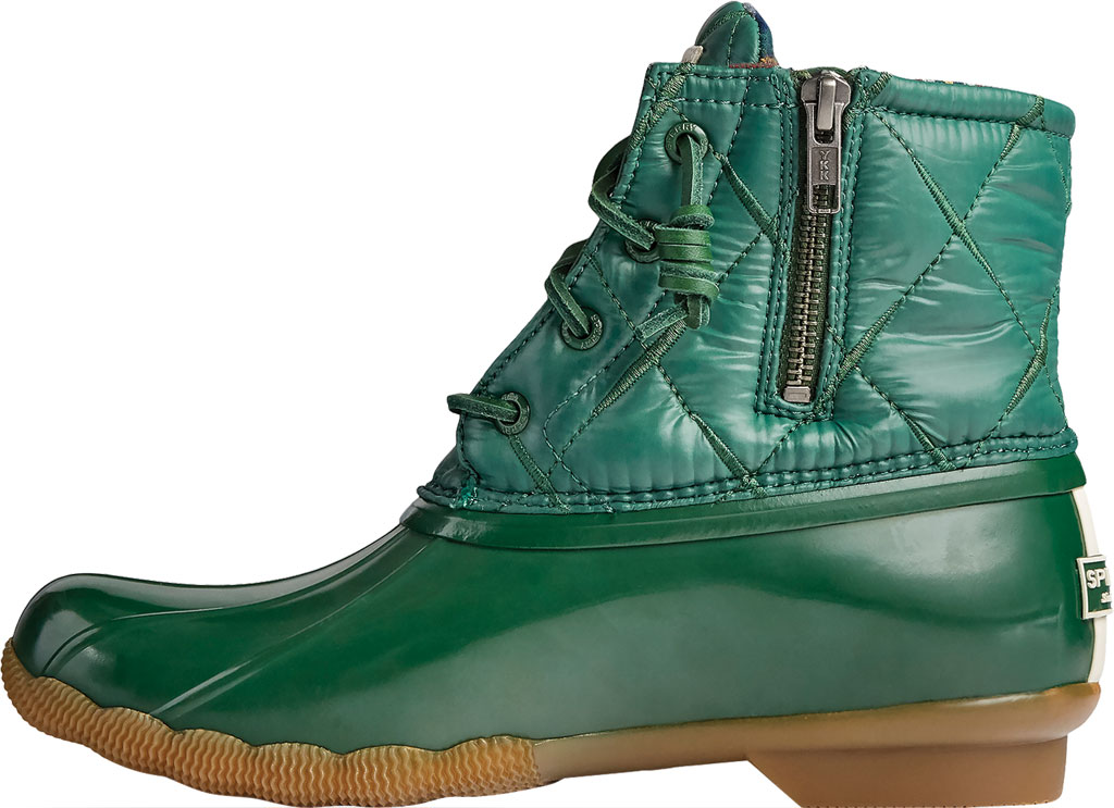 Women's Sperry Top-Sider Saltwater Nylon Quilted Duck Boot, Green Quilted Nylon/Rubber, large, image 3