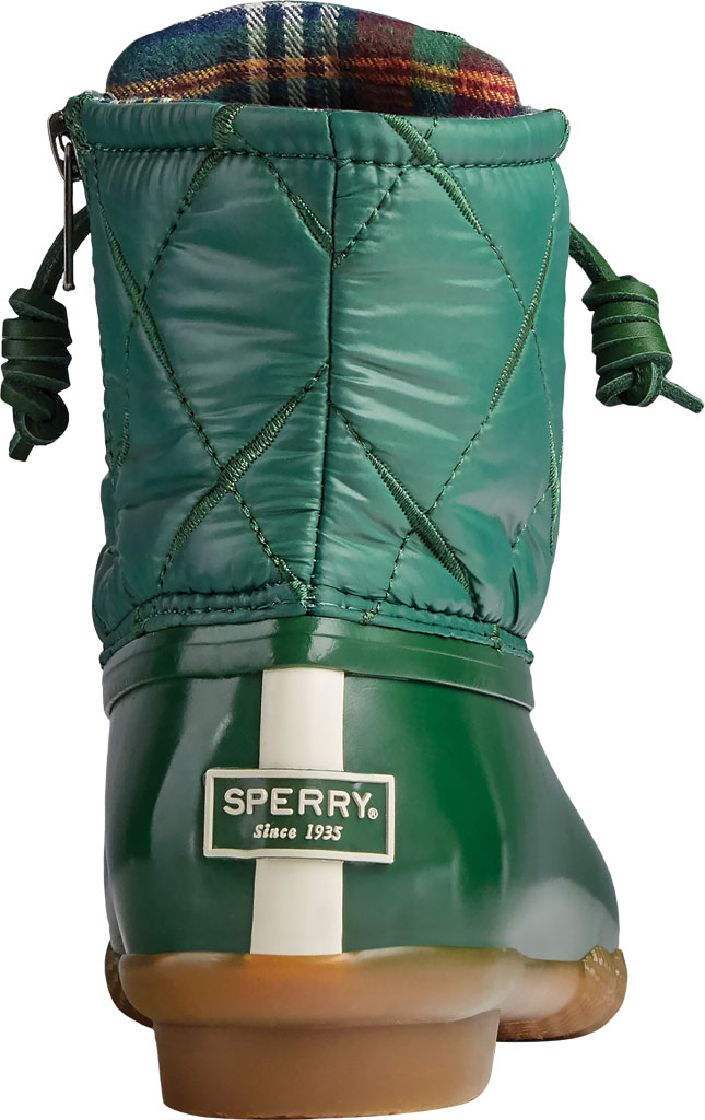 Women's Sperry Top-Sider Saltwater Nylon Quilted Duck Boot, Green Quilted Nylon/Rubber, large, image 4