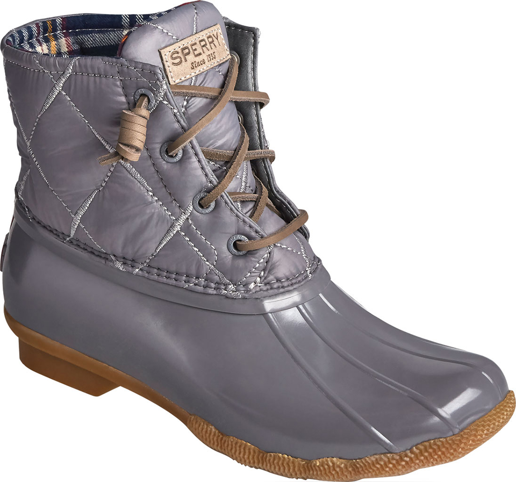 Women's Sperry Top-Sider Saltwater Nylon Quilted Duck Boot, Grey Quilted Nylon/Rubber, large, image 1