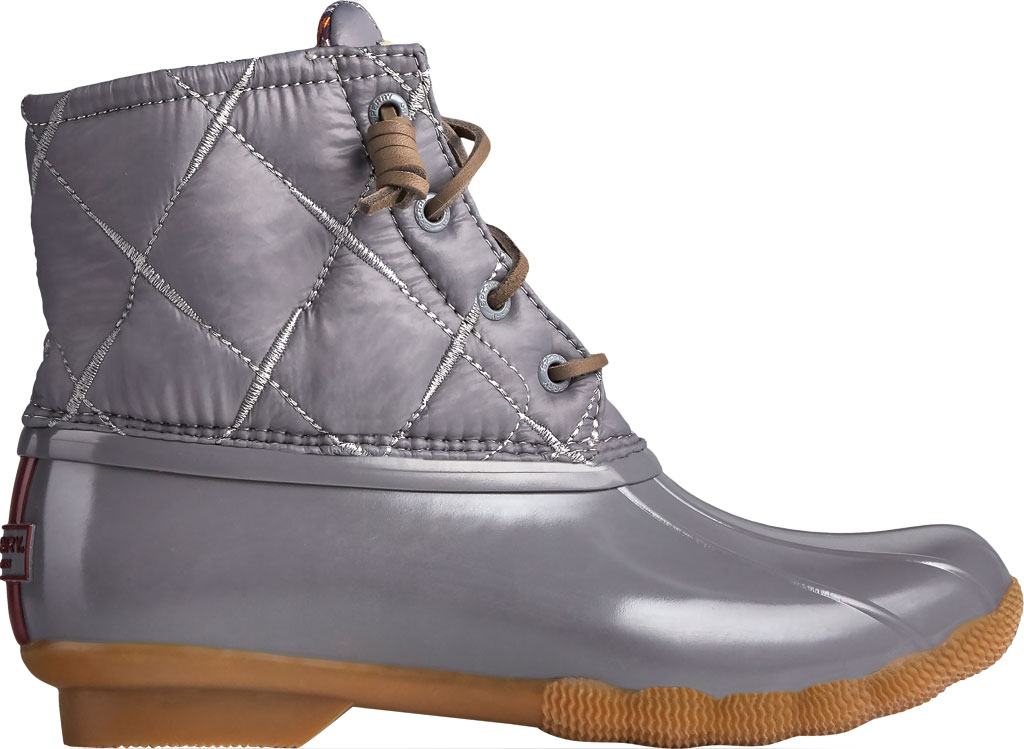 Women's Sperry Top-Sider Saltwater Nylon Quilted Duck Boot, Grey Quilted Nylon/Rubber, large, image 2