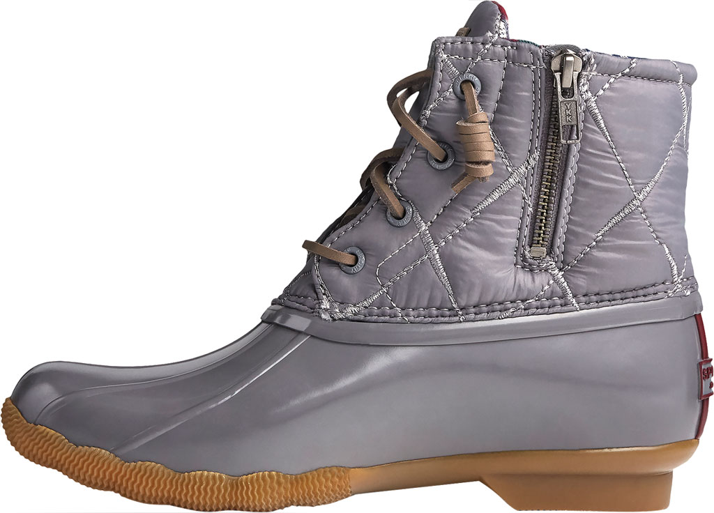 Women's Sperry Top-Sider Saltwater Nylon Quilted Duck Boot, Grey Quilted Nylon/Rubber, large, image 3