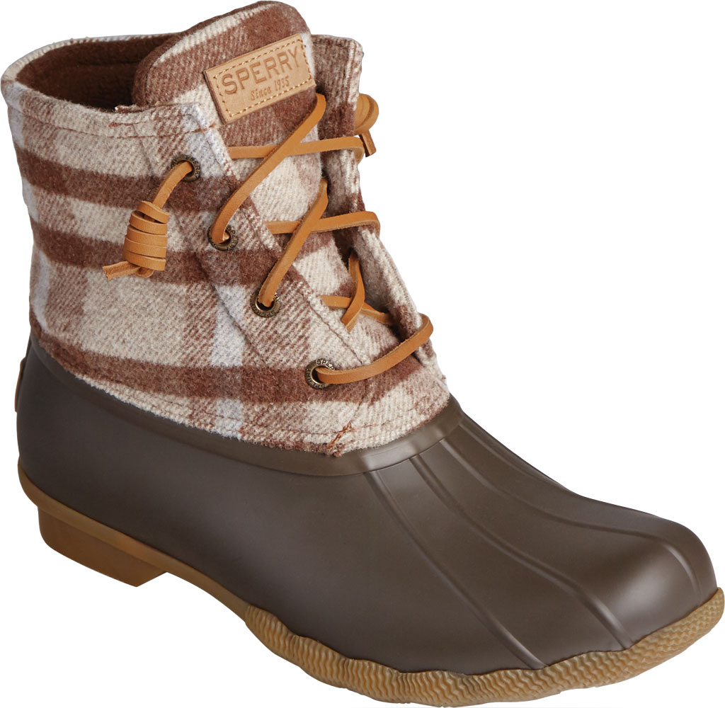 Women's Sperry Top-Sider Saltwater Plaid Wool Duck Boot, Brown Wool/Rubber, large, image 1
