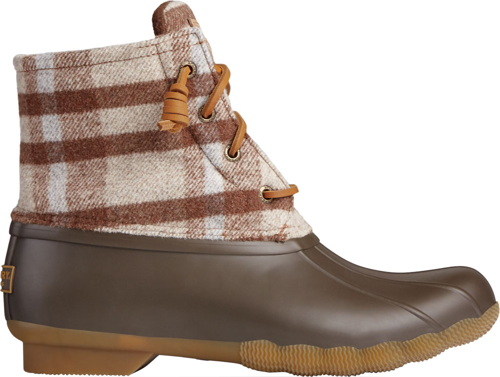 Women's Sperry Top-Sider Saltwater Plaid Wool Duck Boot, Brown Wool/Rubber, large, image 2