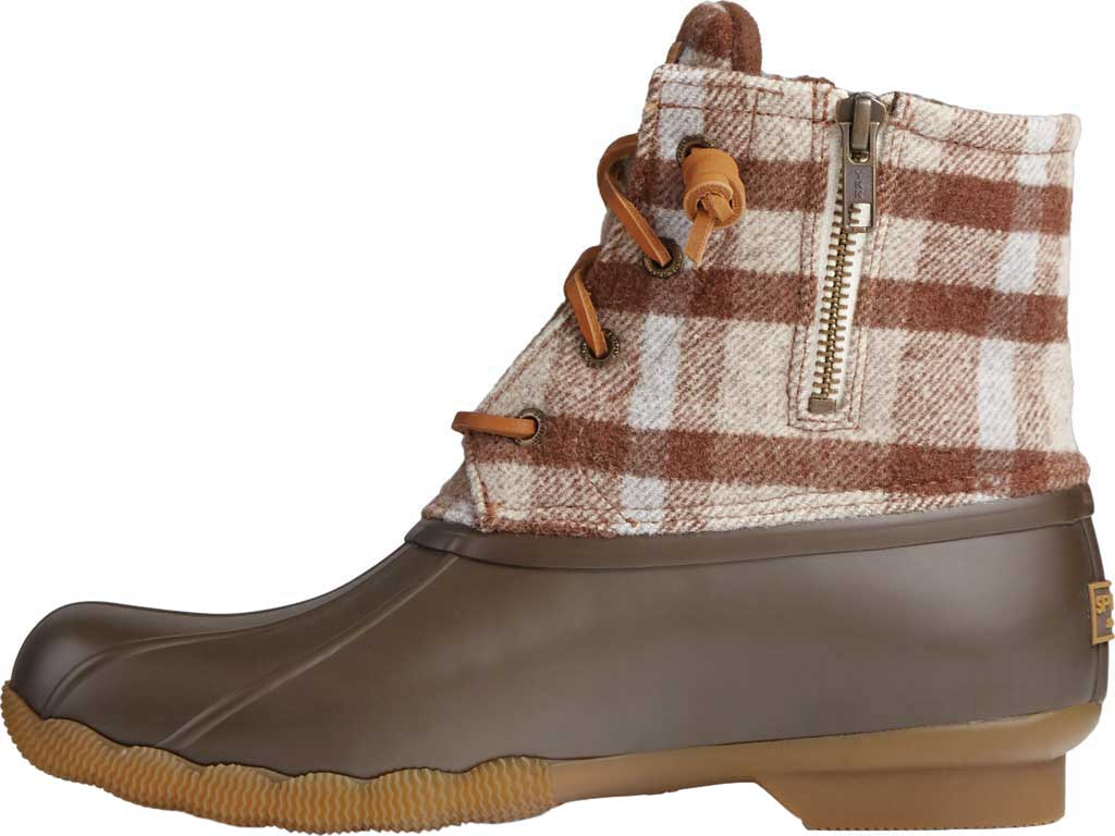 Women's Sperry Top-Sider Saltwater Plaid Wool Duck Boot, Brown Wool/Rubber, large, image 3