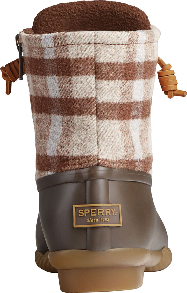 Women's Sperry Top-Sider Saltwater Plaid Wool Duck Boot, Brown Wool/Rubber, large, image 4