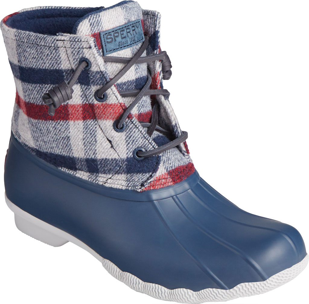 Women's Sperry Top-Sider Saltwater Plaid Wool Duck Boot, Ivory Wool/Rubber, large, image 1