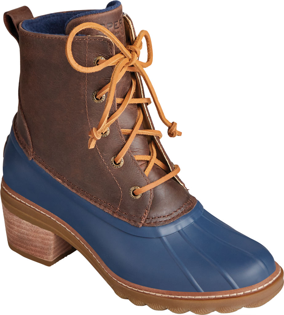 Women's Sperry Top-Sider Saltwater Heel Leather Duck Boot, Brown/Navy Leather/Rubber, large, image 1