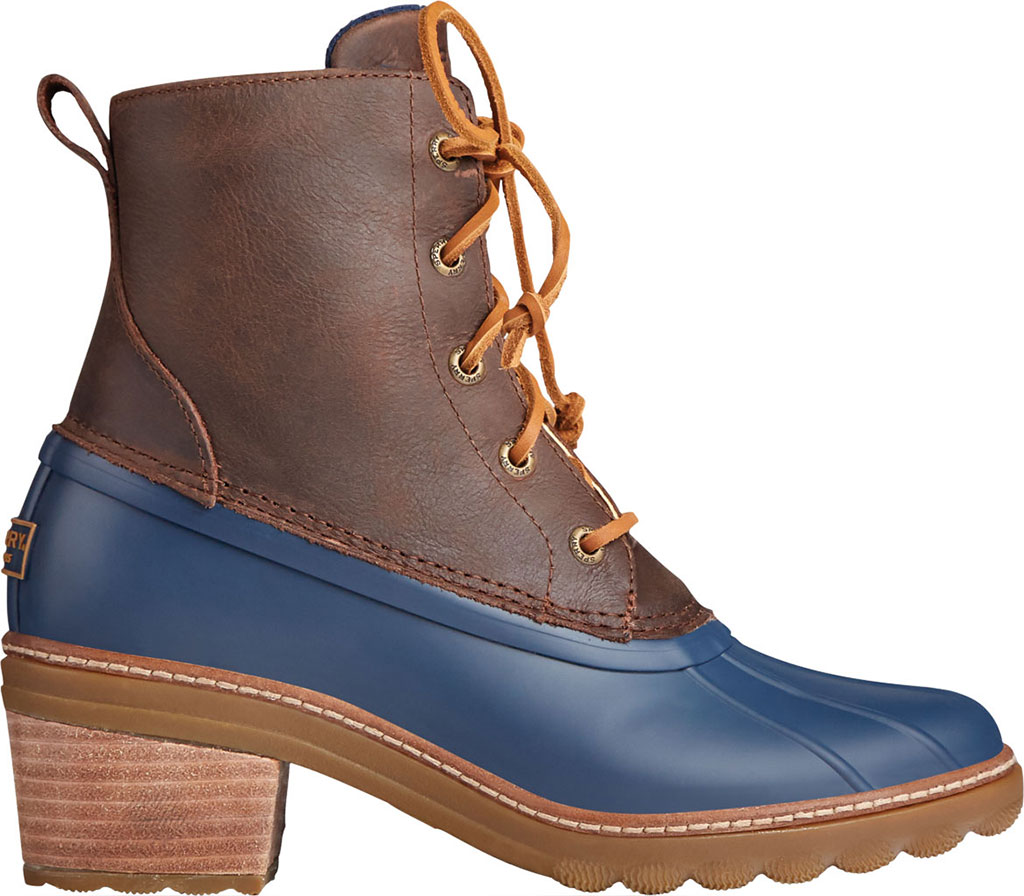 Women's Sperry Top-Sider Saltwater Heel Leather Duck Boot, Brown/Navy Leather/Rubber, large, image 2